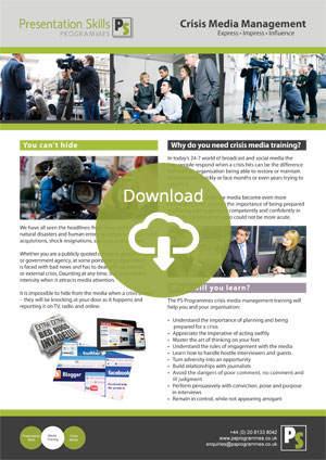 Crisis Media Management Training Brochure