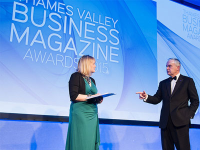 November 2015: Nadine Dereza hosts Thames Valley Business Magazine Awards with Huw Edwards